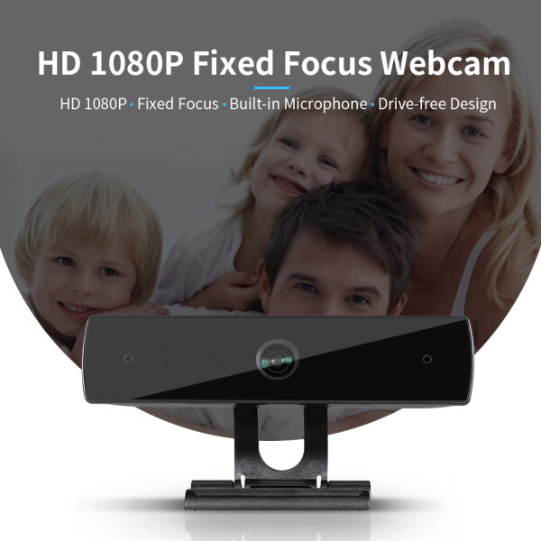 【Ready Stock】HD 1080P Web Camera Fixed Focus USB Webcam Built-in Sound-absorbing Microphone Drive-free Camera for Desktop Laptop Black