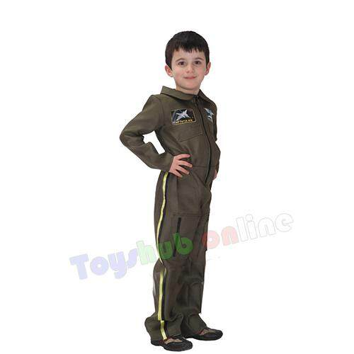 Army Flight Military Air Force Pilot Costume Dress Up Jumpsuit For kids 4-6y (boy) toys for girls