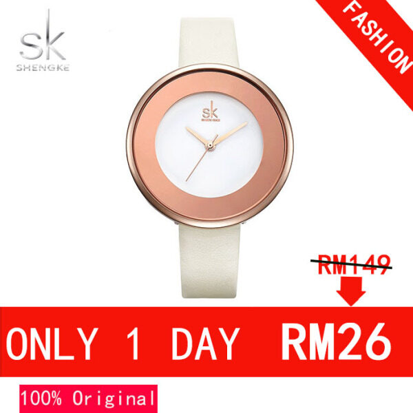 ShengKe Simple Watch for Women Simple Casual Watches Waterproof Quartz Lady Wrist Watch Jam Tangan Wanita Leather Strap Stainless Steel Dial Malaysia
