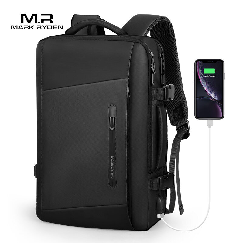 Mark Ryden 17 inch Laptop Backpack Raincoat Male Bag USB Recharging Multi-layer Space Travel Male Bag Anti-thief Mochila