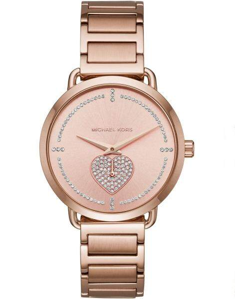Michael Kors Womens Portia Pave Rose Gold-tone Stainless Steel Watch MK3827 Malaysia