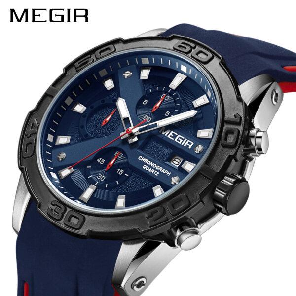 New MEGIR Military Mens Mens Luxury Brand Mens Fashion Silicone High Quality Sports Watch Mens Chronograph Watch Quartz Watch Relogio Masculino