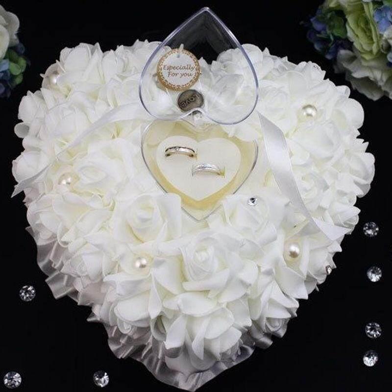 Romantis Putih Bunga Satin Pesta Pernikahan Cincin Saku Pembawa Bantal Bantal