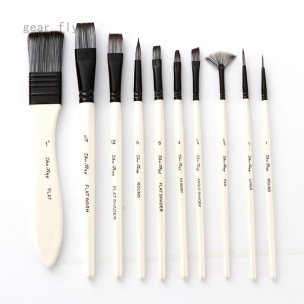 Mua Thiết Bị 10 Nghệ Sĩ Bàn Chải Bộ Nylon Tóc Màu Nước Bàn Chải Với Tấm Bàn Chải Vải Túi Bàn Chải