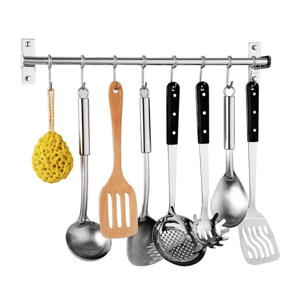 Hanging Rod with Hooks Wall Mounted Utensil Hanging Rack Holder Stainless Steel Tool for Kitchen Cupboard Bathroom