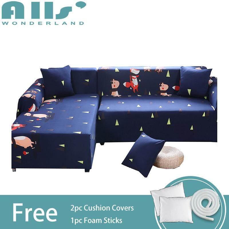 【Sofa Cover】2pcs Cartoon Animal Pattern Elastic Sofa Cover for L Shape Cover Polyester Fabric Universal Corner Sofa Slipcover(2 seater+3 seater)