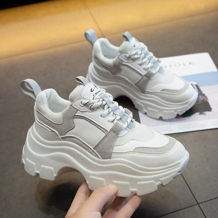 Phụ Nữ Chunky Sneakers Giày Lưu Hóa Thời Trang Hàn Quốc Mới Nữ Đen Trắng Nền Tảng Đế Dày Chạy Giày Giản Dị Phụ Nữ 7Cm giá rẻ