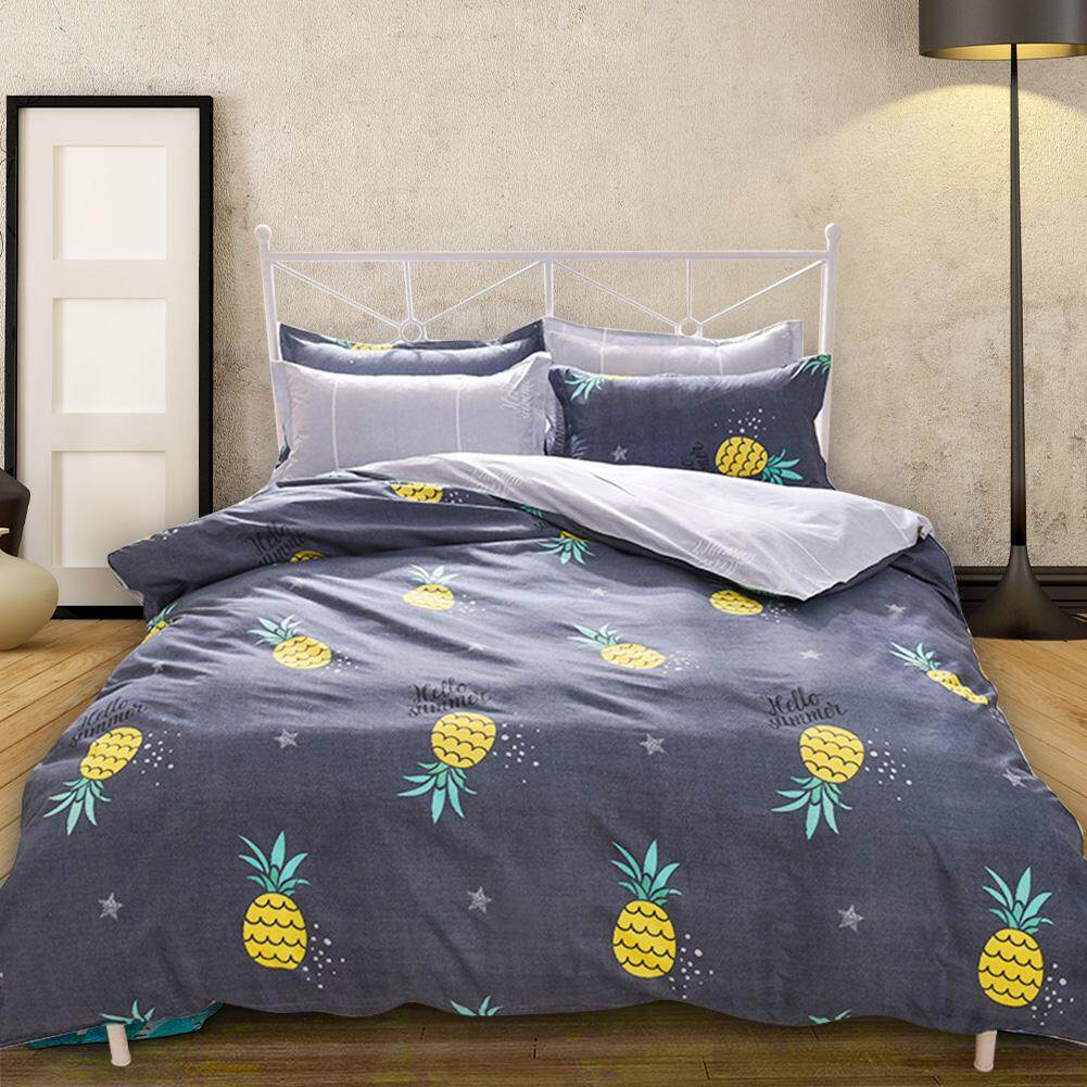 Bedding Set Comfortable Pineapple Printed Flat Sheet Quilt Cover Pillowcases Bedding Set Sheets 230*230 Quilt cover 180*220 Pillowcase 2