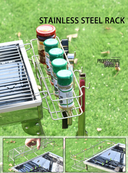 A full set of products: stainless steel barbecue grill, portable folding house or outdoor picnic picnic, charcoal barbecue grill, suitable for 8-15 people to use barbecue grills and barbecue tools (guarantee will not rust) buy one get 13 free