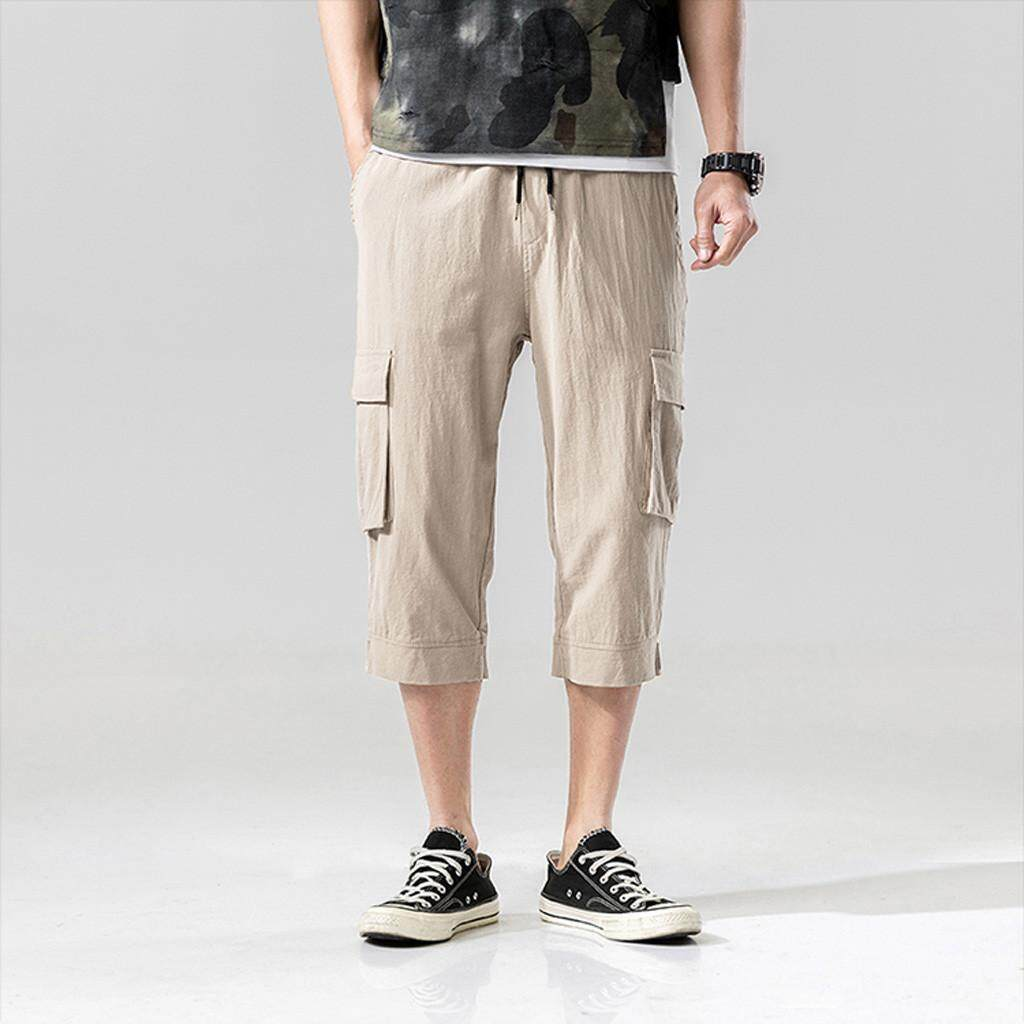 Mobilone Mens Fashion Summer Casual Pocket Solid Drawstring Cotton 3/4 Pants Trousers By Mobilone.