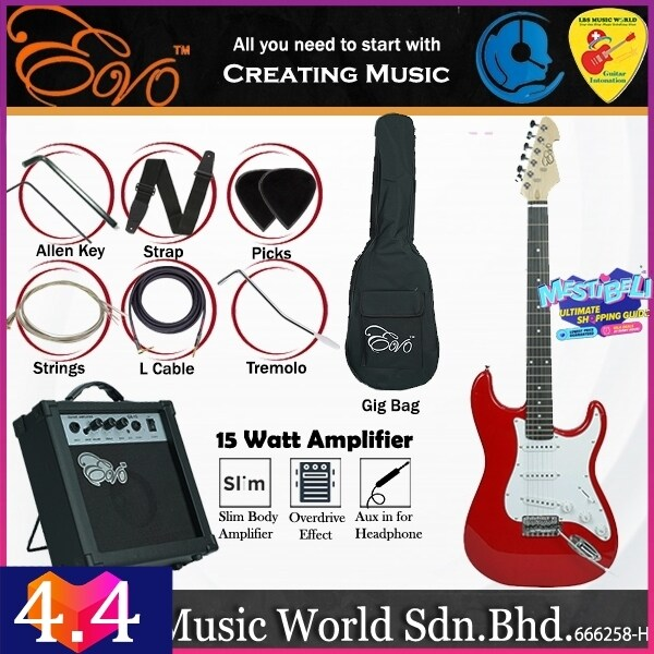 Evo X-1-RD Stratocaster Electric Guitar Linden Wood Body with Tremolo 15 Watt Amplifier Package Candy Red (X1 RD) Malaysia