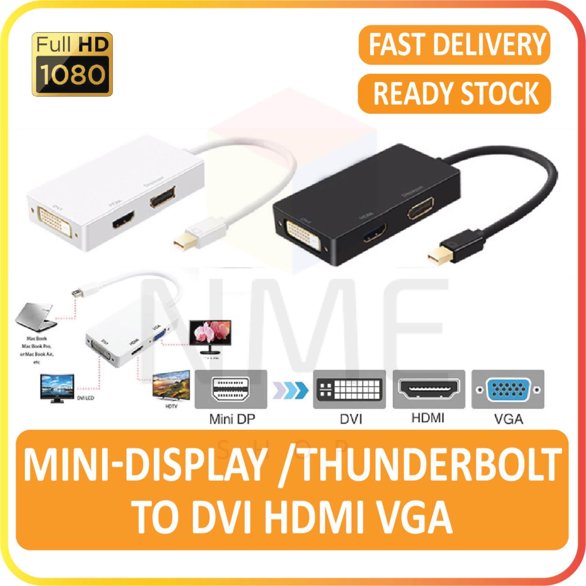 3 In 1 Mini DisplayPort / Thunderbolt Port To DVI HDMI VGA Full HD 1080P  Female Adapter Display Port Cable Converter for Computer, PC, Mac Book Air