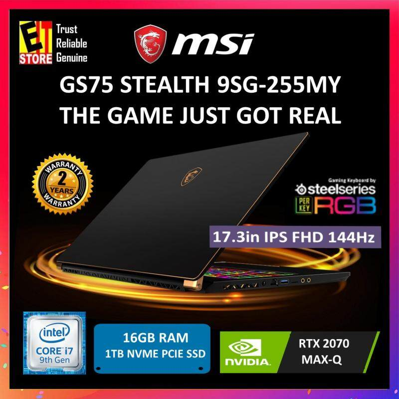 MSI GS75 STEALTH 9SG-255MY BLACK (I7-9750H+HM370/8G*2/1TB SSD/RTX2070 MAX Q 8G/17.3/W10/2YRS) + MOUSE, BACKPACK Malaysia