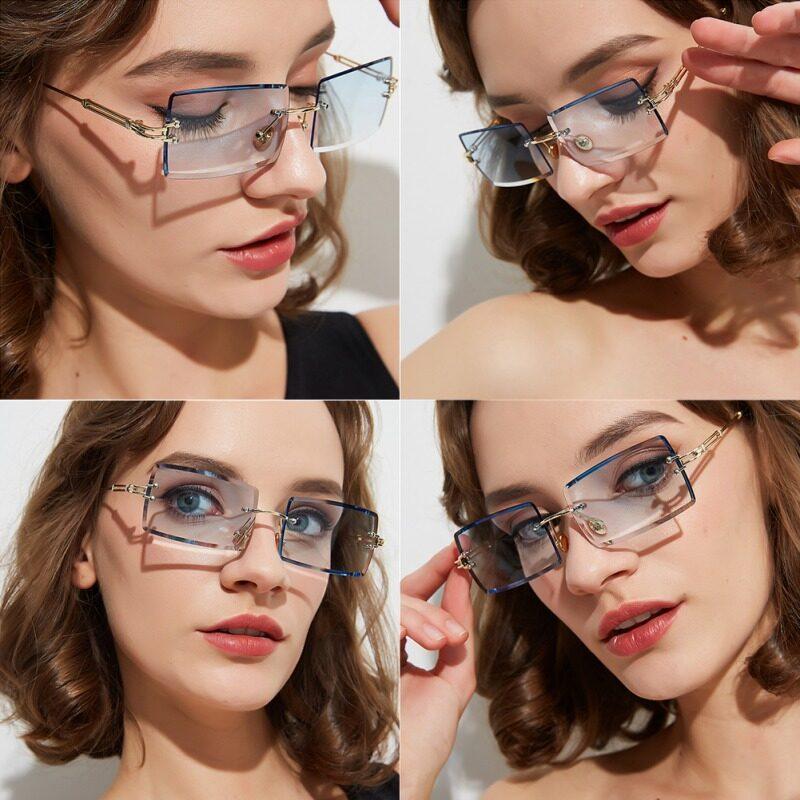 Fashion Rimless Gradient Lens Sunglasses Lady Summer Classic Eyewear