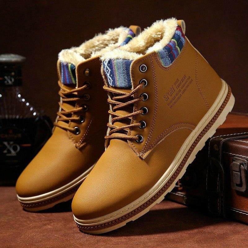 2018 Pria Musim Dingin Plus Beludru Hangat Sepatu Mendaki Sepatu Sneakers Pria Non-Slip Sepatu Boot Salju Olahraga Sepatu Katun Untuk Pria By Fashshop.