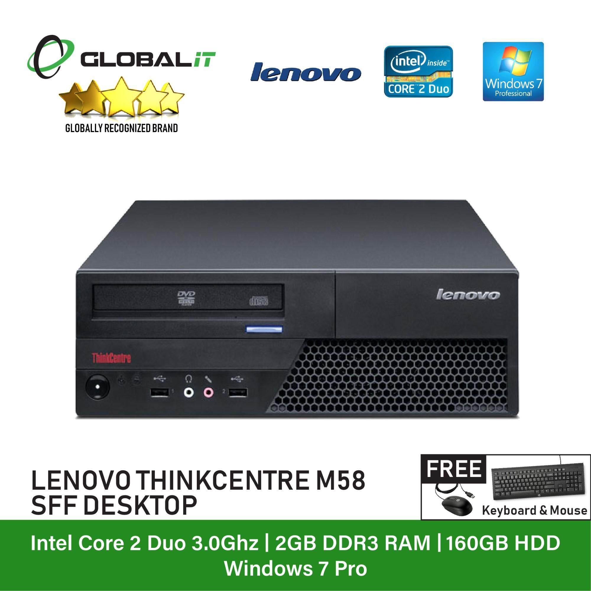 (Refurbished Desktop) Lenovo ThinkCentre M58 type 6234 SFF / Intel Core 2  Duo / 160GB Hard Disk / 2GB Ram / DVD Writer / Windows 7 Professional