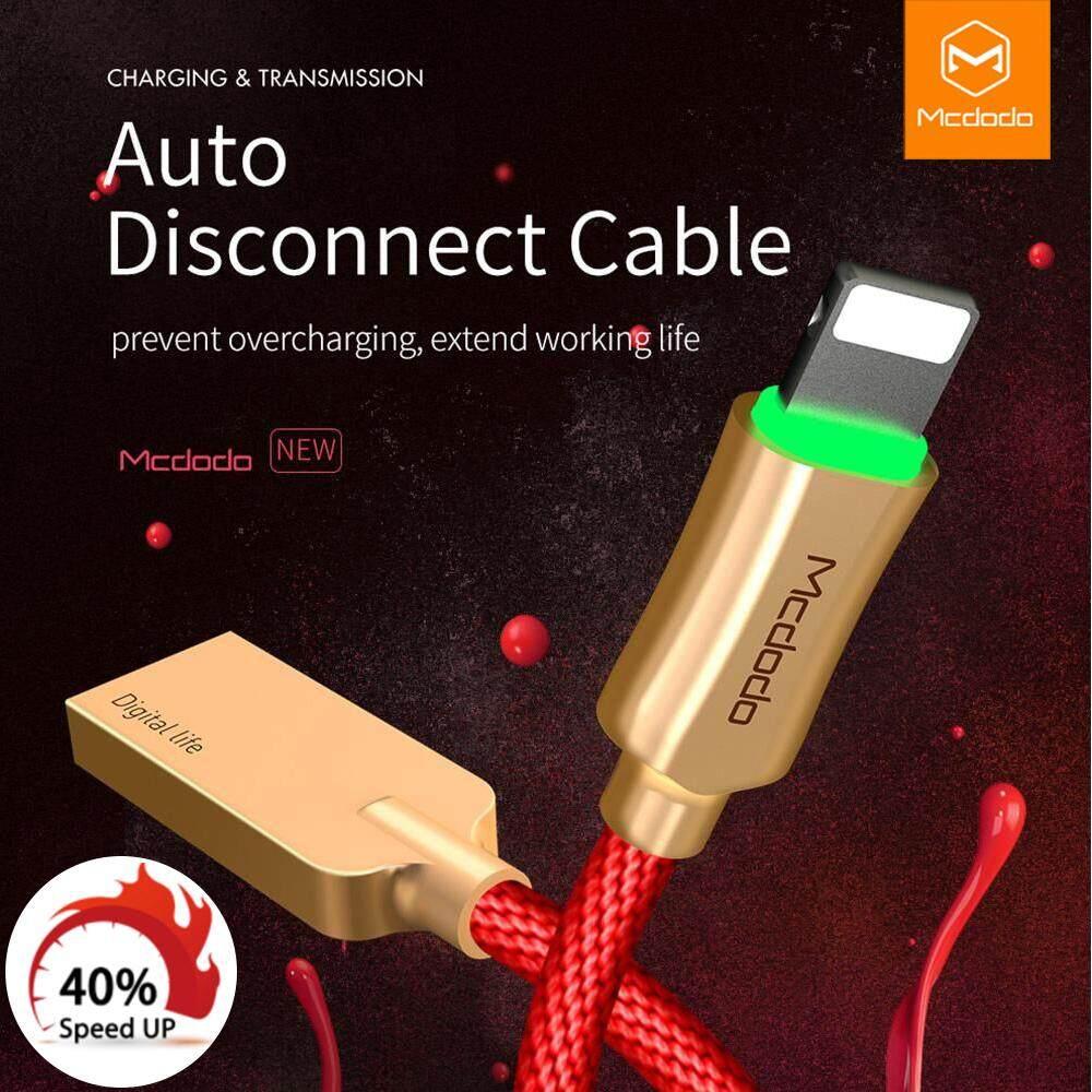 MCDODO Kabel USB Lightning Terputus Otomatis Kabel Data untuk iPhone Apple XS Max XR X 8 7 6 S 6 Plus 5 Kabel Cepat Kabel Pengisi Daya telepon Seluler Kabel Pengisi Daya USB Kabel Data