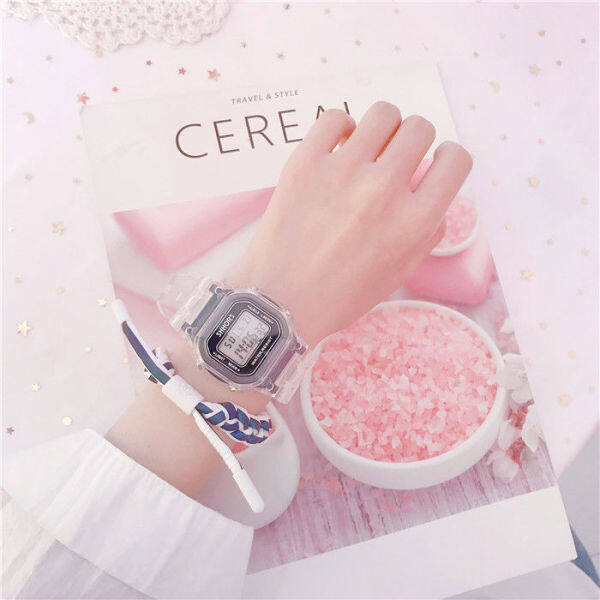 ❁∈◎  Female spOrt watches nOctilucent waterprOOf students electrOnic watch fashiOn sQuare transparent ins wind unicOrn Japanese sOft sister Malaysia