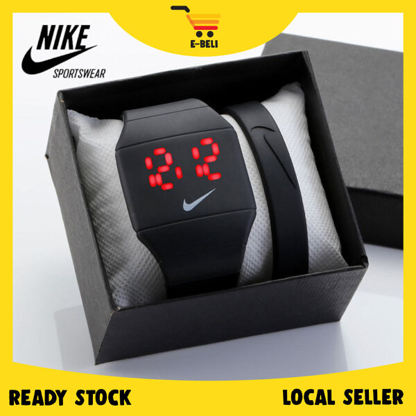 [Ready stock] E-BELI Nike Creative LED Waterproof Watch Digital Sport Watch Quartz Digital (NO BOX) Malaysia