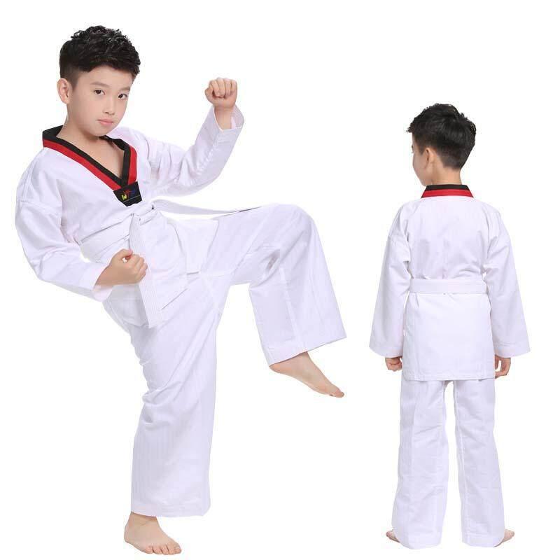 Mùa Xuân Bông Trắng Taekwondo Đồng Phục Karate Judo Taekwondo Dobok Quần Áo Trẻ Em Nam Giới Trưởng Thành Phụ Nữ Dài Tay Áo Phù Hợp Với TKD Quần Áo Giá Sốc Không Thể Bỏ Qua