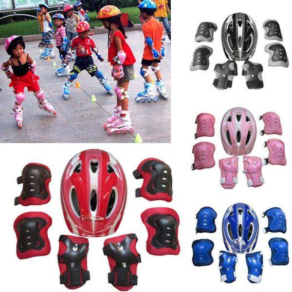 EASYEAH 7Pcs/set Practical Outdoor sport Protective Equipment Bike Safety Knee Elbow Pad Bicycle Helmet Protection Skate Cycling Safety Helmet Safety Guard