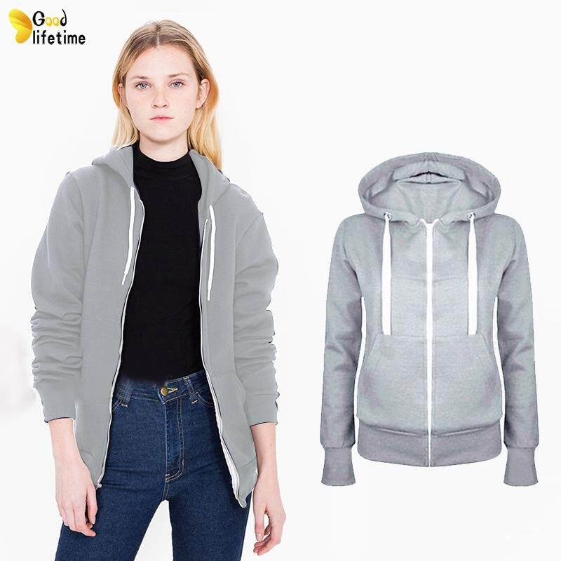 a91790b021f GLT Women Plush Zip Up Hoodies Sweatshirt Hooded Long Sleeve Autumn Winter  Coat Tops