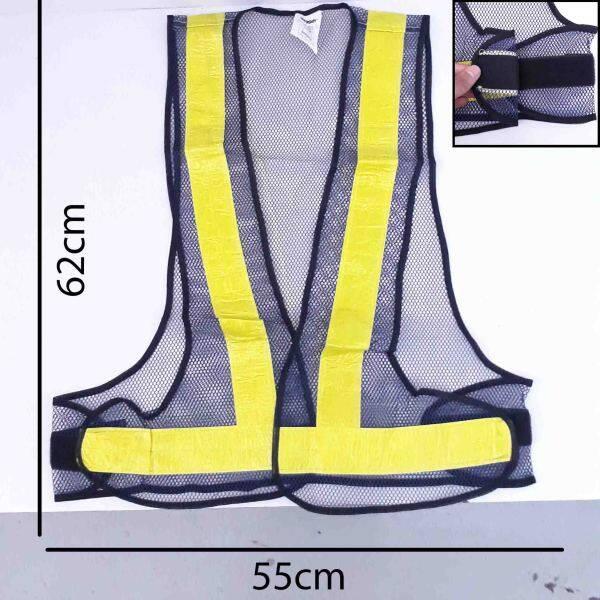 Reflective Polyester Black Yellow Safety Vest