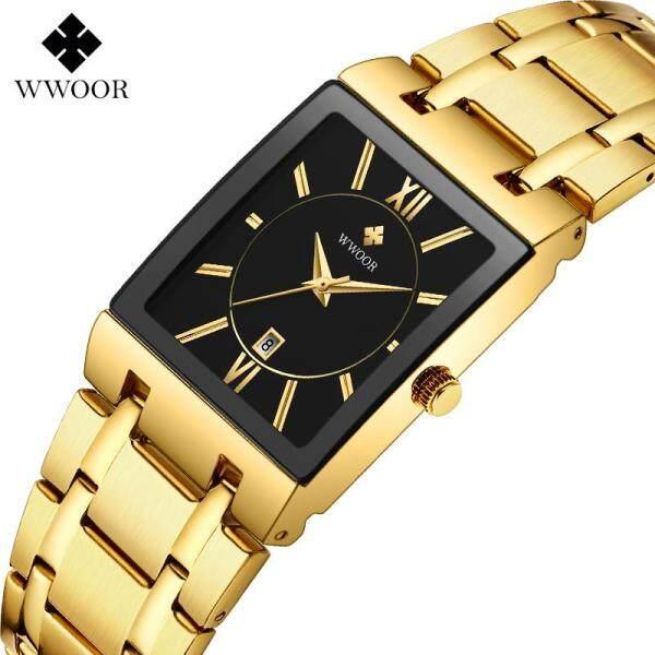 [RAYA SALE] WWOOR Top Luxury Brand Watch For Men Calendar Square Dial Analog Quartz Waterproof Stainless Steel Roman Numerical Casual Original Wristwatch Malaysia