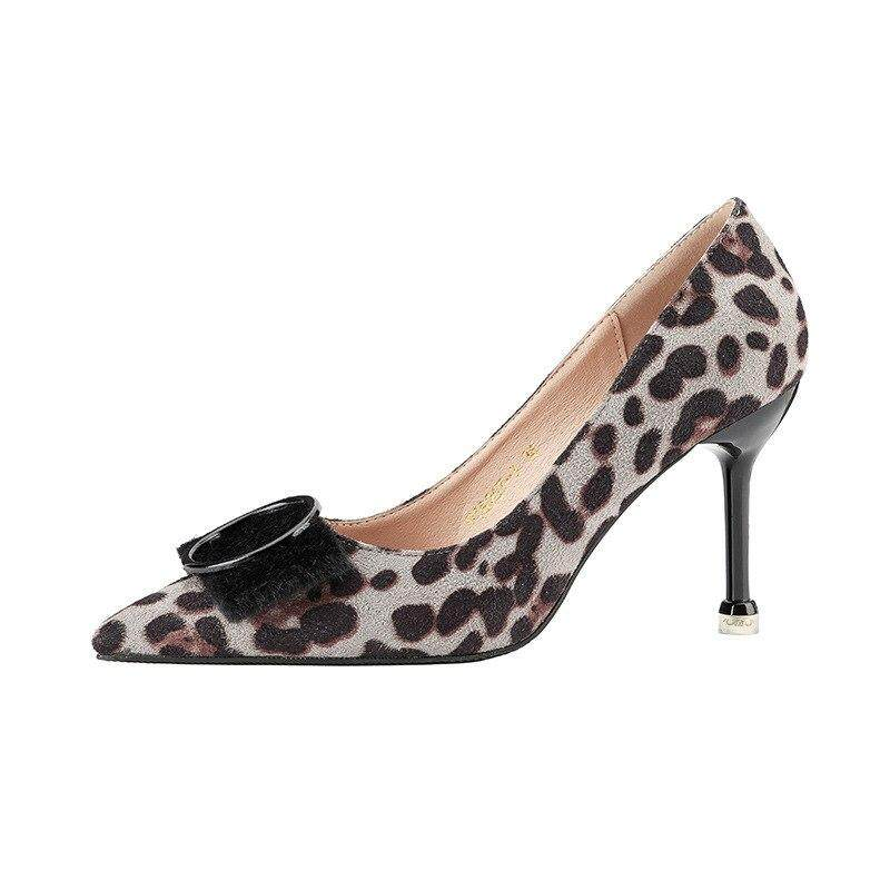 00d4254b4 Fashion Sexy Plus Size Pointed Toe Medium Footwear Leopard Print Metal High  Heels Suede 2019 Party