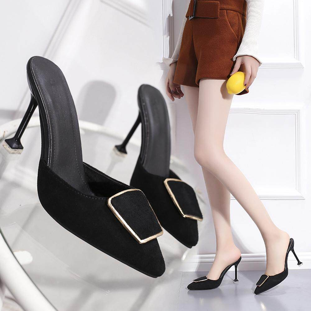 8881caa89 New Fashion European and American Style (women's Shoes) Suede High Heel  Sandals Slippers (