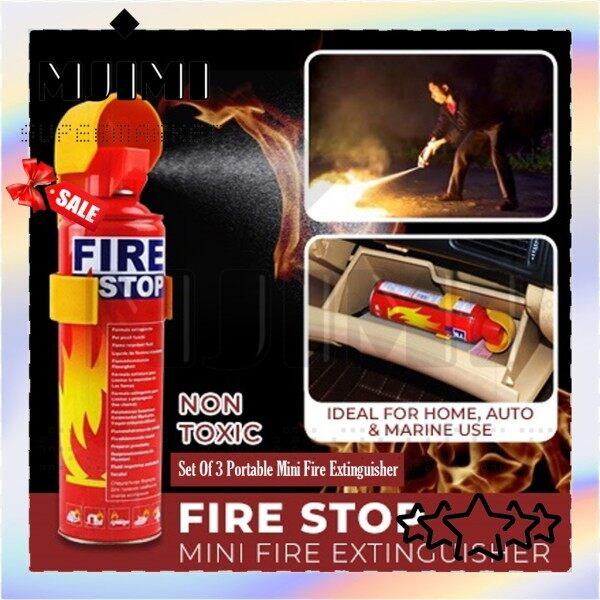 MJIMI Portable Mini Fire Extinguisher Set of 3 Automotive Car And Home Dual Use 500ml -1394