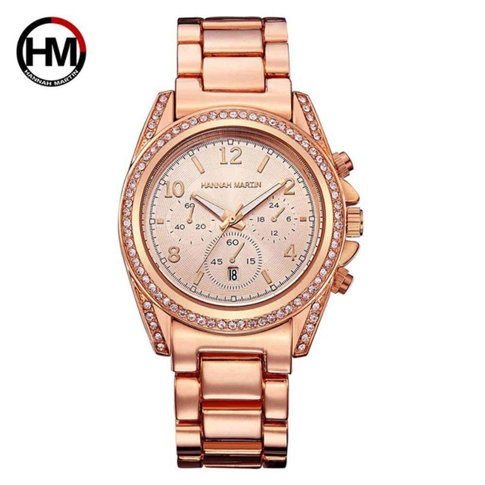 Hannah Martin Luxury Crystal Diamond Bracelet Watch For Women 24 Hours Display Stopwatch Chronograph Full Stainless Steel Lady Wristwatch Auto Date Complete Calendar Life Water Resistant Business Dress Ladies Watch 1107 Malaysia