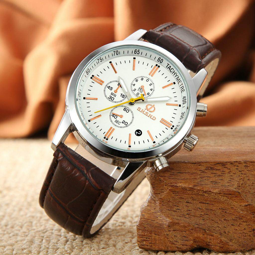 viviroom-Fashion Temperament Three Eye Six Pin Analog Quartz Leather Belt Watch Malaysia
