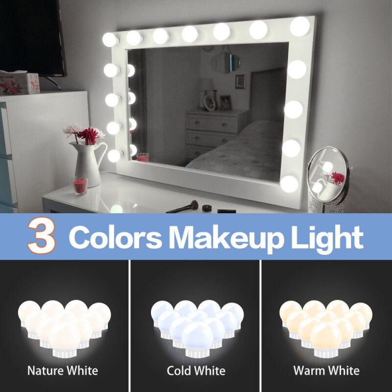 ✨Longreen✨LED Đèn Gương Make Up Đèn Gương Bàn Phấn Với 10 Bóng Đèn Cho Bàn Trang Điểm MakeUp Dải Ánh Sáng Phong Cách Hollywood