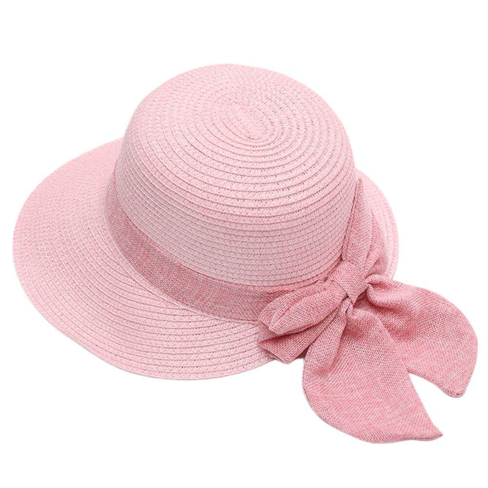 c48775679e0a40 Women Gift Solid Summer Accessories Casual Wide Brim Sun Protection Bowknot  Design Bucket Hat