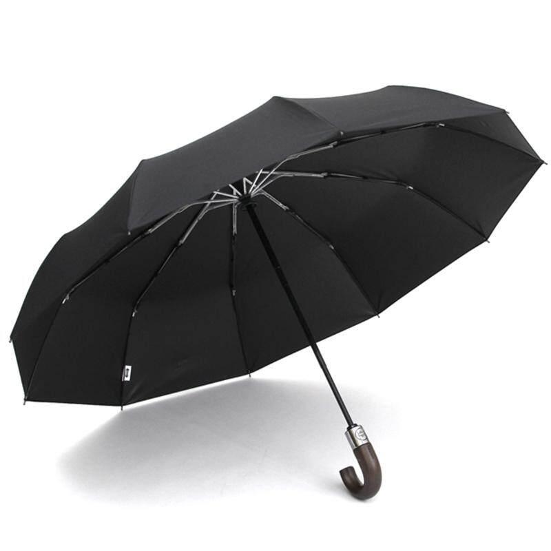 e378babb1fc87 PARACHASE Automatic Folding Umbrella Men Women 10K Strong Windproof Rain  Umbrellas Anti UV Sun Protection Wooden