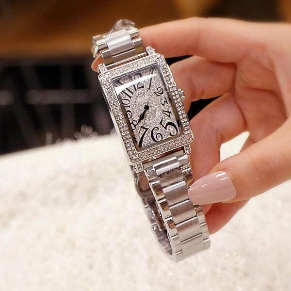 Mobangtuo Authentic Fashion Trend Watch Female Full Diamond Rectangular Steel Belt Diamond Waterproof Watch Malaysia