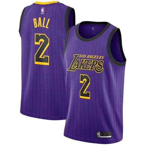 High Quality Discounted Comfortable Men Basketballl Jersey Size S-2xl Nba Los Angeles Lakers Lonzo Ball 2 Purple 2018/19 Vaporknit Authentic – City Edition By Ushk Mall.