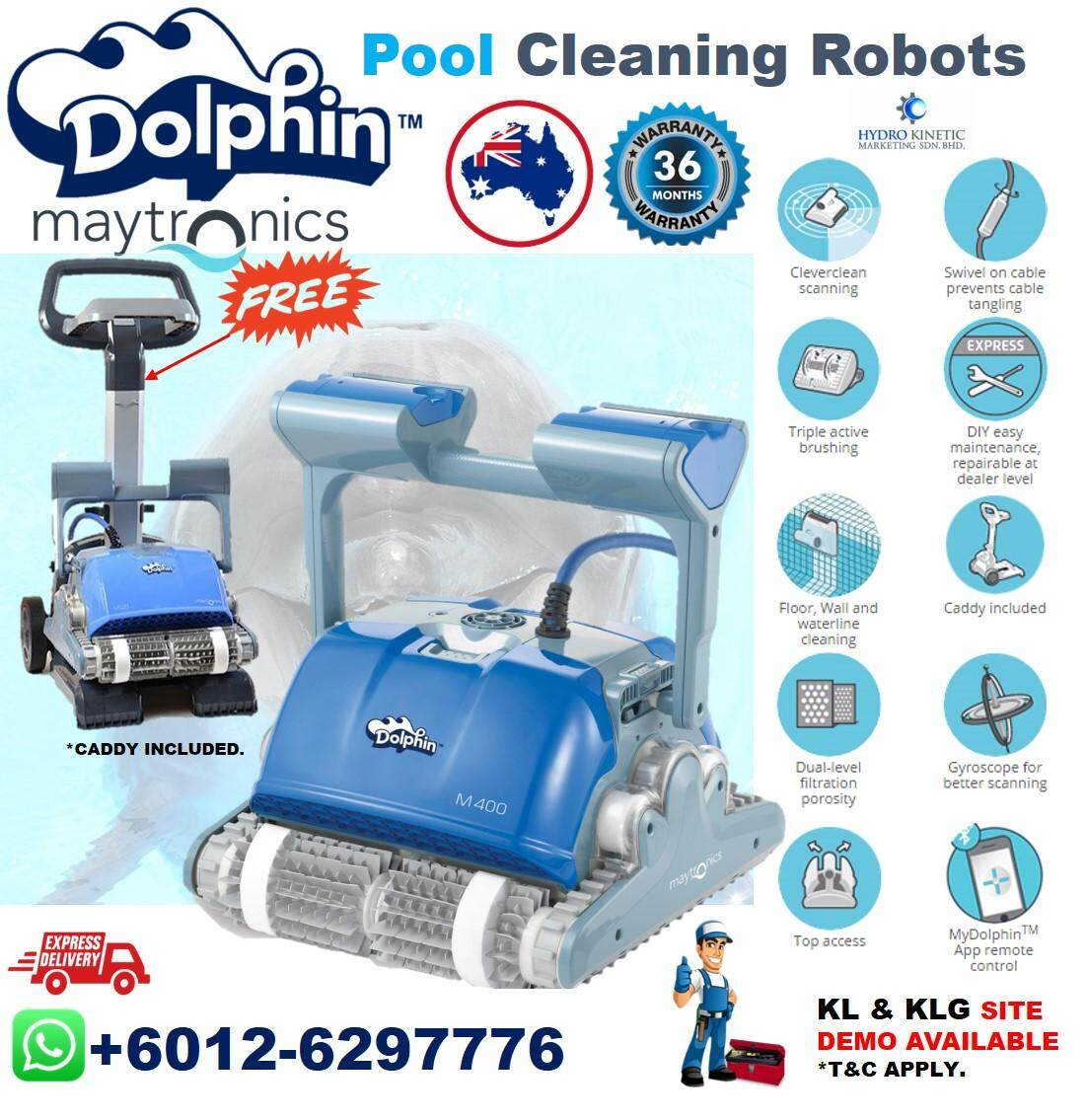 Dolphin Supreme M400 PRO Swimming Pool Cleaner Robot,recommended for pools of 12m - 15m (40 - 49 ft) in length**Demo Available In Klang Valley with T&C Apply.