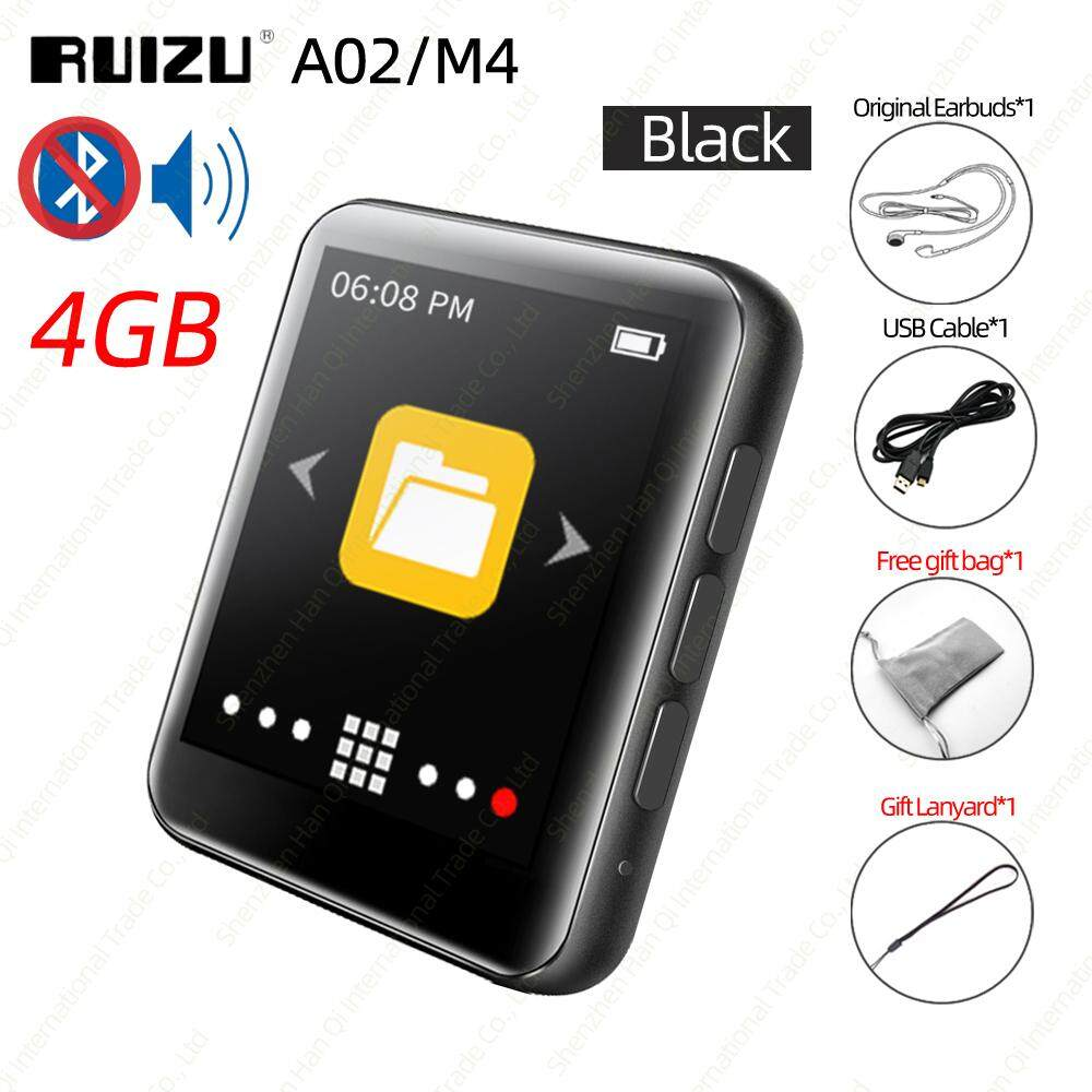 RUIZU A02 M4 Full Touch Screen Bluetooth MP4 MP3 Player 4GB 8GB 16GB Music HiFi Player Portable Audio Walkman with Built-in Speaker Support FM Radio Recording E-book Clock Pedometer Video Player