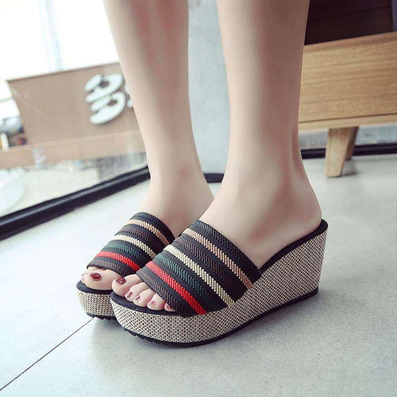 b5043cabd Casual Comfortable Summer Fashion Women Wedge Shoes High-heeled Sandals  Shoes Black