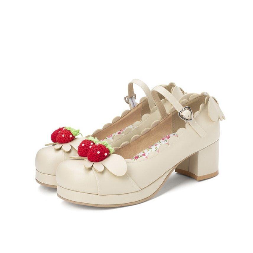 Công Chúa Lolita Cô Gái Mary Janes Giày Nữ Ngọt Ngào Đầm Đi Tiệc Cosplay Giày Cao Gót Lễ Cưới Chunky Med Gót Dâu Tây Cỡ Lỡn 34-46 giá rẻ