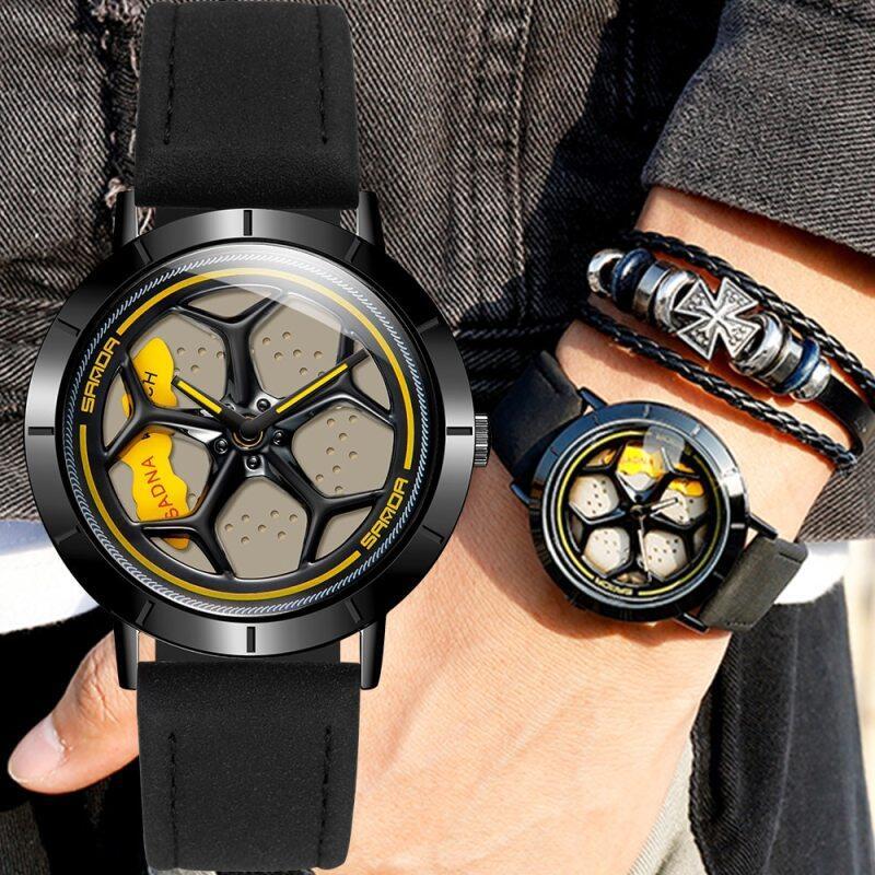 New Hot Sell Fashion Men Watches Sport Car Wheel Rim Hub Men Quartz Watch Leather Waterproof Creative 360 Degree Rotating Clock Malaysia