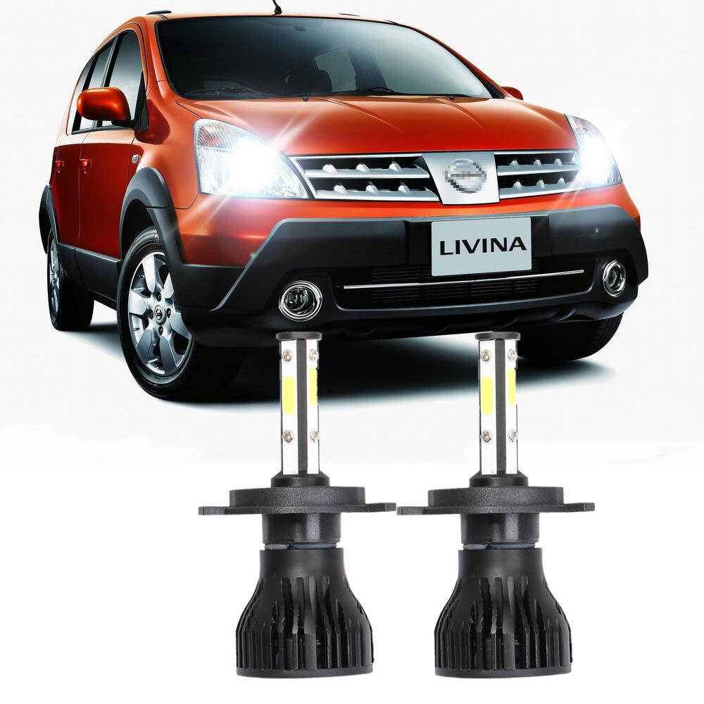 Lampu depan LED mobil, untuk Nissan Grand Livina (generasi 1) 2006-2013 (lampu depan) 4 sisi H4 lampu depan mobil lampu depan otomatis sorot rendah