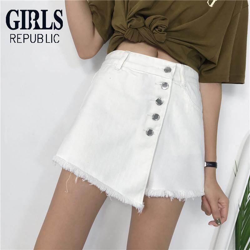 Girls Republic Womens Denim Shorts Female Korean Version A Word Wide Leg Pants Skirt Pants By Girls Republic.