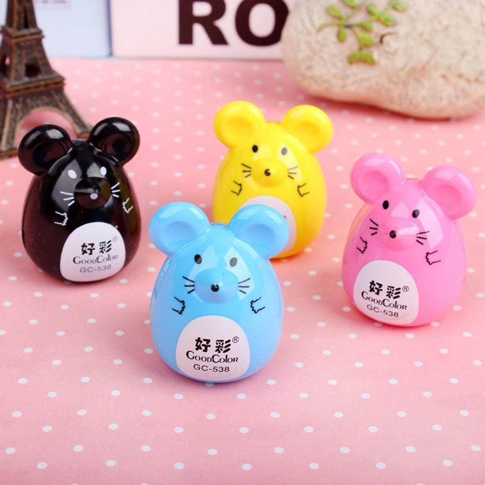 1* Lovely Cute 4 Pcs/set Novelty Kid Plastic Mouse Style Penknife Stationery Gift Pencil Sharpener Cartoon Design