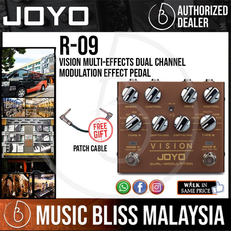 Joyo R-09 VISION Multi-Effects Dual Channel Modulation Effect Pedal With Free Patch Cable Malaysia
