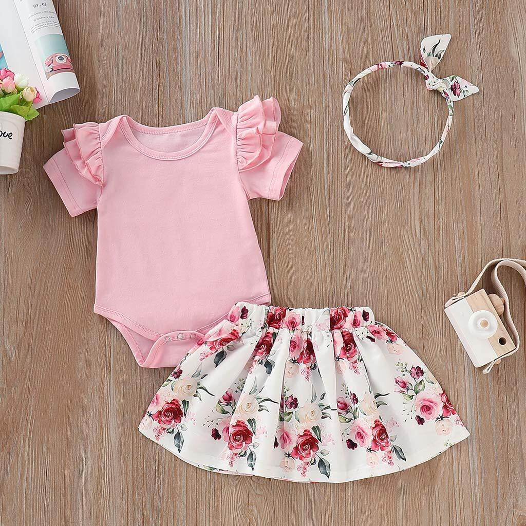 1ec873c865b Toddler Infant Baby Girls Solid Ruffles Romper Floral Print Skirt Outfits  Set