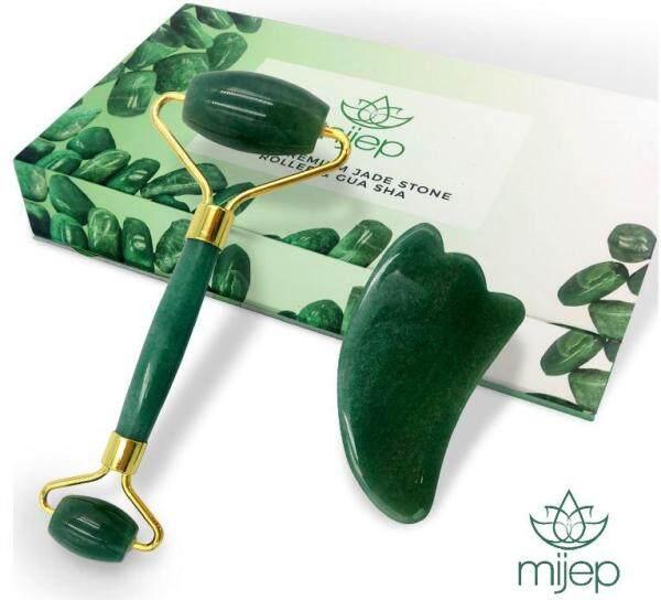 Buy Jade Roller and Jade Gua Sha - Stunning Premium Quality Natural Jade Stone Facial GuaSha and Face Massager Tools. Traditional Crystal Facial Scraping Tool and Rollers Singapore