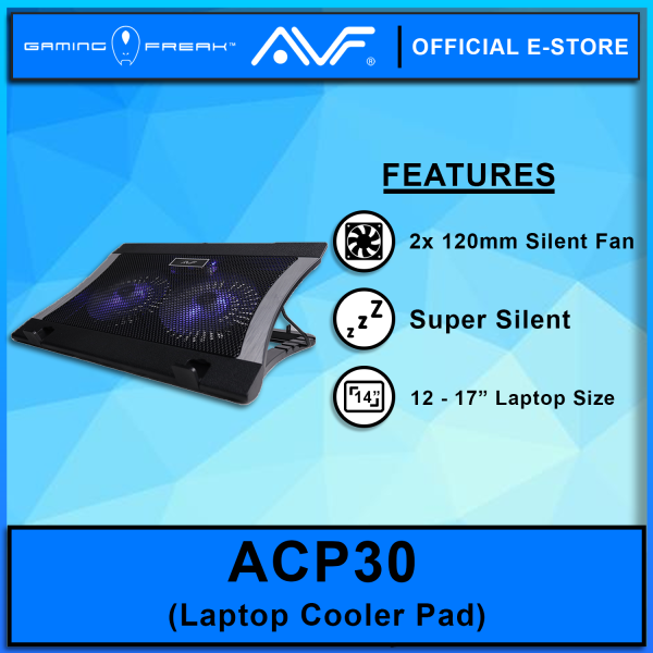 AVF ACP30 Super Silent Notebook Cooler with 2x12cm LED fan (Up to 17) - Black color Malaysia